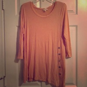 Tops - Pink piko top with buttons on side